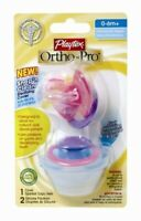 Playtex Ortho-Pro Silicone Pacifier w/ Sterilizing Cover 0-6M+ Colors Vary 2 Ct