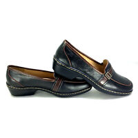 SOFTSPOTS Black Chunky Heel Leather Slip On Loafers Shoes Women's Size 7W