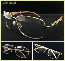 Men's Classy Elegant Retro Style Clear Lens EYE GLASSES Large Gold & Wood Frame