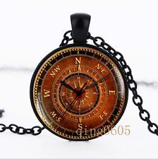 Vintage compass , Old  photo Glass Dome black Chain Pendant Necklace wholesale