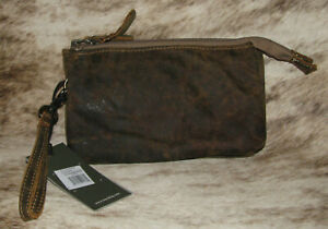 """Myra Bags #2216 Orchestra Bag Leather 8""""x4.5"""" Pouch Wristlet Cosmetic Bag Clutch"""