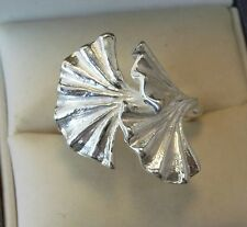 Argento Sterling Designer HAND MADE GINKO Fan Anello