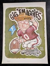 Vintage 1972 Texas A&M Aggies Poster - Dirk West Cartoon Mascot Football TAMU
