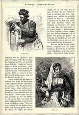 Syrien Damaskus Männertracht Frauentracht Wasserpfeiffe * Originalblatt von 1884