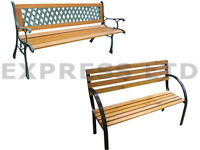 3 SEATER OUTDOOR WOODEN GARDEN PARK WOOD BENCH FURNITURE SEAT W/CAST IRON LEGS