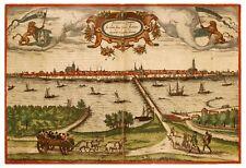 Kampen Overijssel Netherlands bird's-eye view map Braun Hogenberg ca.1575