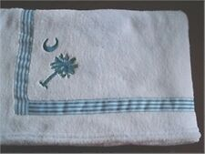 "30""x40"" Baby Lt Blue Coral Fleece Blanket South Carolina Palmetto State Logo"