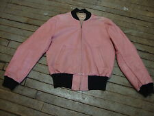 1950s PINK AND BLACK ROCK N' ROLL LEATHER JACKET BY KNOPF OF BOSTON ROCKABILLY