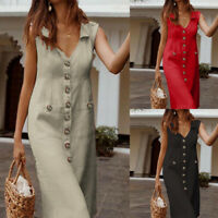ZANZEA UK Women Sleeveless Collared Button Down Midi Dress Ladies Summer Dresses