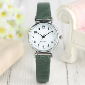 Brown/Green/Red/Black Leather Strap Women Lady Dress Quartz Wrist Watch Gift