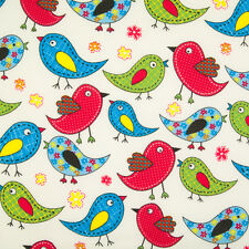100 Cotton Fabric Easter Patchwork Bird Red Green Blue Material 1/2 Metre
