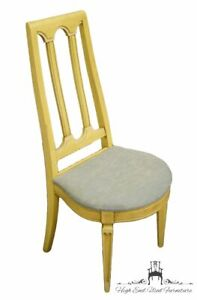 BASIC-WITZ French Provincial Painted Yellow Cream Accent / Vanity / Desk Chai...