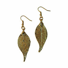 Plated Earrings French Wire Dangle Usa Long Evergreen Real Leaf 24k Gold Dipped,