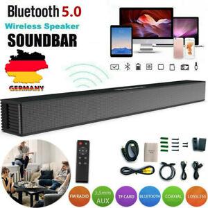 40W Soundbar Heimkino Subwoofer Wireless Bluetooth Optisch Coaxial USB für TV PC