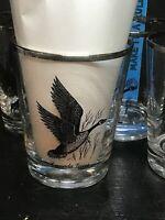 5 Federal Glass Canada Goose Rocks Glasses Silver Rimmed Sportsman MCM vintage