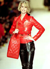 Iconic Claudia Schiffer Chanel 1992 Leather Moto Pants Out Pocket sz 40 *RARE*