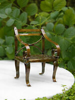 Miniature Dollhouse FAIRY GARDEN Furniture ~ Rustic Antiqued Tin Chair