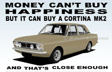 Ford Cortina Mk2 1600E GT 4 Door Art illustration Novelty Fridge Magnet