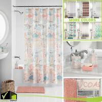 17-Pcs Bath Set Shower Curtain & Hooks Noodle Rug Dispenser Toothbrush Holder