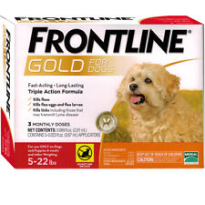 Frontline Gold flea and tick control 3 Months supply Dog 5-22 lbs Epa Approved