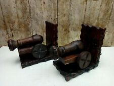 OLD LARGE 7 INCH VINTAGE BURNISHED WOODEN CANNON BOOKENDS IN A  MEDIEVAL STYLE