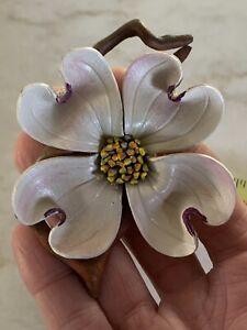 realistic big handmade leather dogwwood tree flower limb pin brooch stone ridge