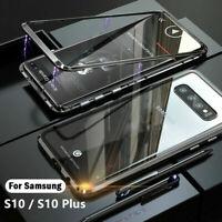CUSTODIA MAGNETICA ALLUMINIO Per Samsung S10/ Plus/ E Vetro Temperato Cover Case
