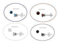 0.25 CTW 14K WHITE GOLD ROUND DIAMOND EARRINGS RED/BLUE/BLACK/WHITE STUD