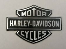 HARLEY DAVIDSON 3D METAL BADGE STICKER GRAPHIC DECAL LOGO BLACK SILVER SHIELD