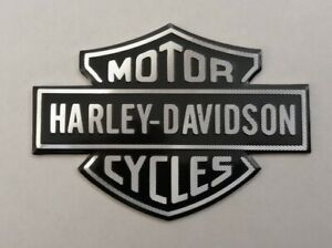 HARLEY DAVIDSON 3D METAL BADGE STICKER GRAPHIC DECAL LOGO BLACK SILVER SHIELD