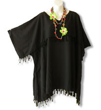 KB41 Black Kimono Plus Size Caftan Kaftan Tunic Blouse Top - 2X, 3X, 4X & 5X