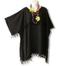 KB41 Black Kimono Plus Size Caftan Kaftan Tunic Blouse Top - 2X, 3X, 4X & 5X