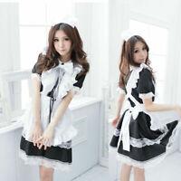 Halloween Women's Japanese Maid Uniform Lolita Dress Cosplay Costume Sexy Outfit