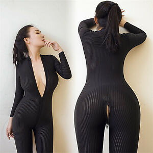 Sexy Long Sleeve Leopard Bodysuit Zipper Jumpsuit Striped Catsuit Cosplay Decor