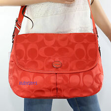 NWT Coach Hot Orange Signature Nylon Messenger Crossbody Shoulder Bag F77490 NEW
