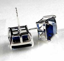 Men Square White Gold Plated Stud Earrings11mm Big Dark Blue CZ Cubic Crystal