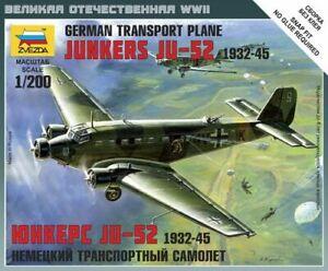 Junkers JU-52 German Transport Plane 1932-45 Plastic Kit 1:200 Model Zvezda
