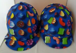 RIDING HAT COVER - SWEETS  CANDY - MULTI COLOURS - ROYAL BLUE ORANGE RED MAUVE