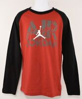 NIKE AIR JORDAN Boys' Kids' Long Sleeve Raglan Top, Red/Black, size 10-12 years
