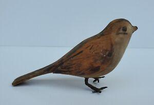 Vintage Folk Art Hand Carved Wood Sparrow Bird Wire Feet Finch