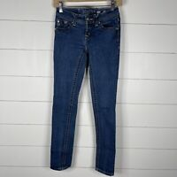 Miss Me Womens Blue Denim Dark Wash Size 26 Zipper Fly 5 Pocket Skinny Jeans