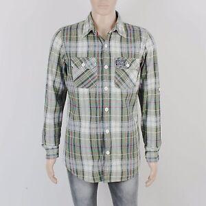 SuperDry Mens Size L Soft Cotton Green Grey Check Long Sleeve Shirt