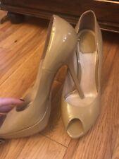 Christian Dior beige  patent leather peep toe platform pumps heels 39 1/2