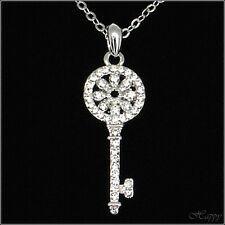 Key to Heart Necklace Pendant Charm Clear Crystal Wedding Party Jewelry 18k W GP