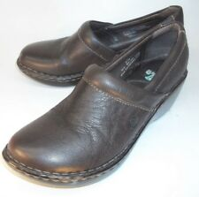 Born Wos Shoes Wedge Clogs US 8 M EU 39 Brown Leather Slip-On Work Walking 4583