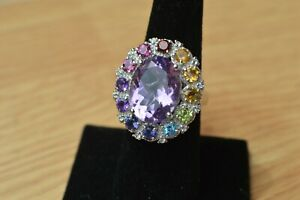 11.32ct Amethyst / Multi Gemstone Ring Platinum over Sterling Silver Size 7