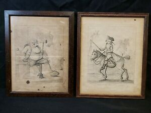 Pair Antique Etchings Henry Bunbury Geoffrey Gambado Boots Chemists Drugs Horse