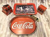 MIXED COCA-COLA LOT Metal Tins TV Galvanized Trays Serving Lunch Box Pen 80s 90s