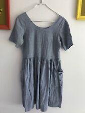 Urban Renewal Women's XS Short Sleeved Denim Pocket Knit Peasant Dress