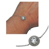 Bracelet fin en argent massif 925 chaîne zirconium blanc bijou